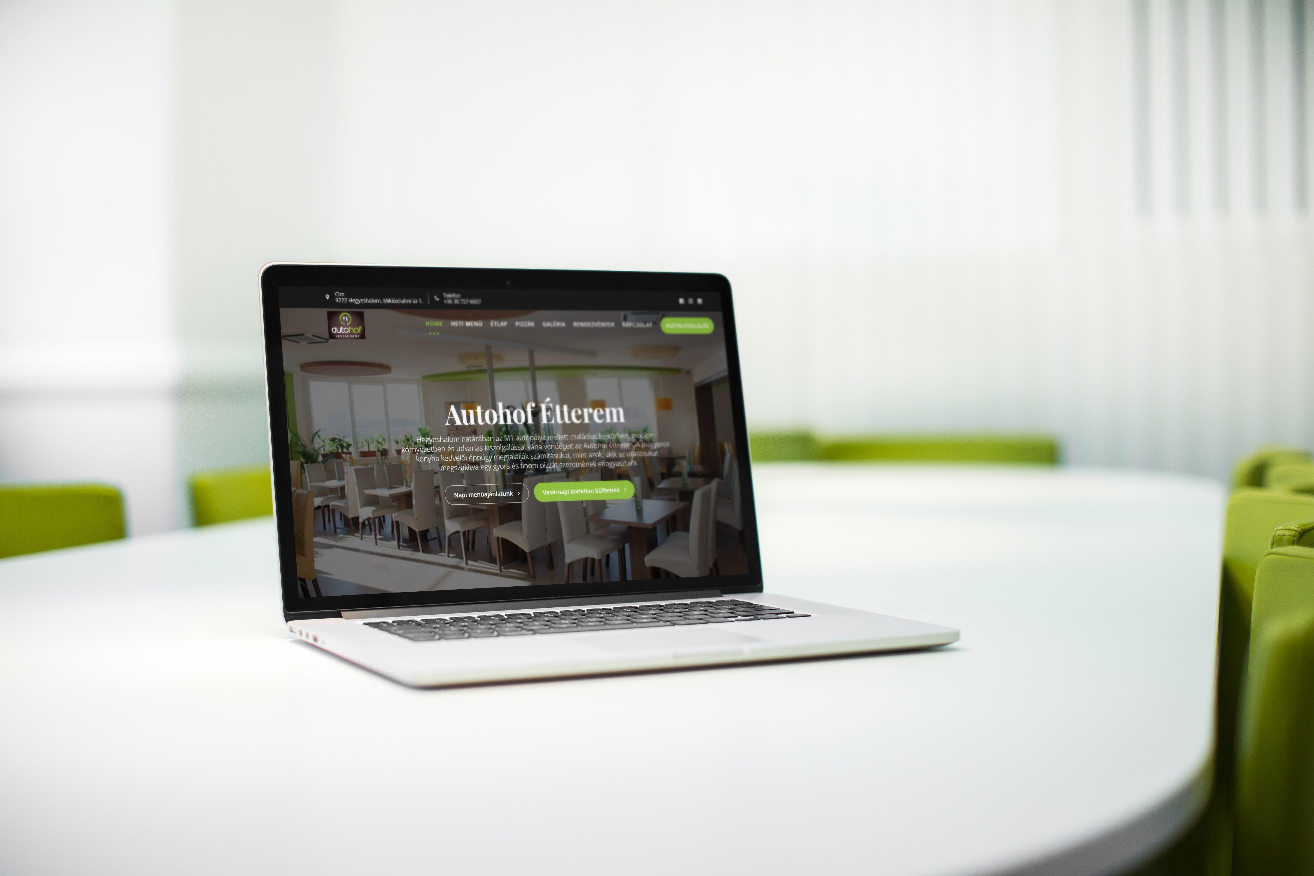 Autohof étterem weboldala