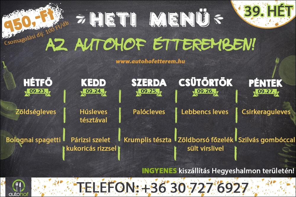 Menüétlap az Autohof Étteremnek